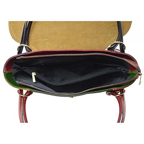 Borsa A Mano In Vera Pelle Multicolor Colore Marrone - Pelletteria Toscana Made In Italy - Borsa Donna