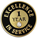 PinMart's Gold Plated Excellence in Service Enamel Lapel Pin w/ Rhinestone - 1 Year