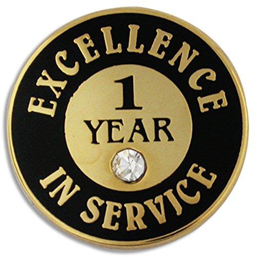 - PinMart Gold Excellence in Service Enamel Lapel Pin w/Rhinestone - 1 Year