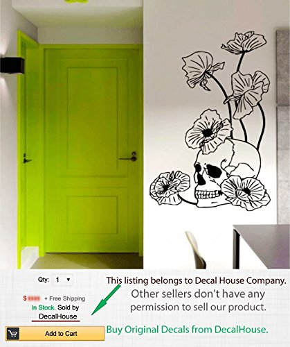 [Happy Halloween Wall Vinyl Decal Skeleton Sticker Skull and Poppies Dangerous Flowers Floral Design Home Wall Art Decor Removable Stylish Sticker Mural Unique Design for Any Room m670] (Halloween Decor Gets Too Real)