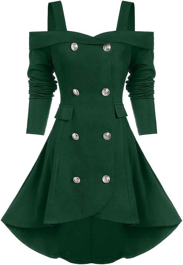 Zweireihige Trenchcoat Gothic Jacke Kleid Schulterfreie Smoking-Blazer Frauen Viktorianische Frack Holloween Party Cosplay Kost/üm Outwear Wintermantel Xiangdanful Punk Damen Mantel