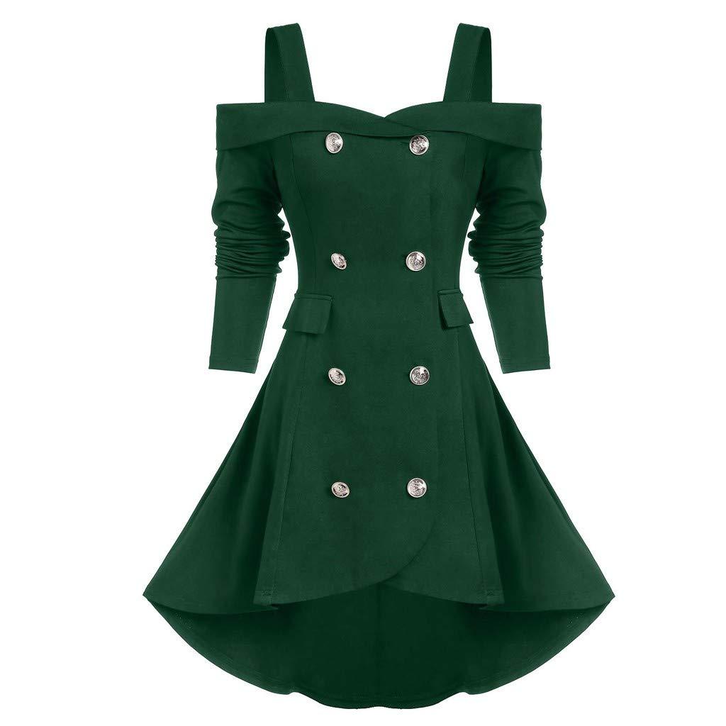 SHUSUEN Women's Gothic Jacket Long Dress Gown Party Halloween Costume Outfit High Low Hem Button Overcoat Green by SHUSUEN