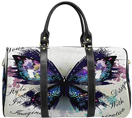 InterestPrint Unisex Duffel Bag Carry-on Bag Overnight Bag Weekender Bag Butterfly Butterfly