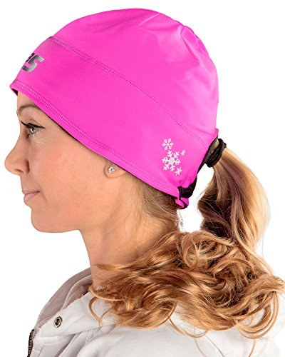 SLS3 Women`s Running Beanie Hat Ponytail - Moisture Wicking Womens Beanie with Hole for Pony Tail (Pink)
