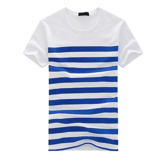 c7ec6b74e6f6 Homebaby Estivi Maglietta Manica Corta Uomo Strisce T-Shirt Sportivi Vintage  - Casual Camicia Elegante