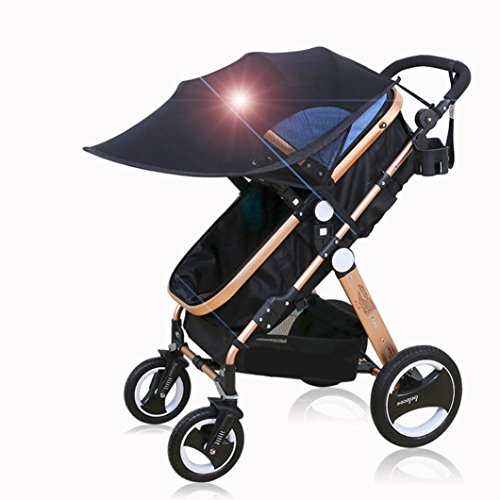 Baby Pushchair Cover, Dingji Sun Visor Sun Shade for Strollers and Car Seats (Black) by Dingji