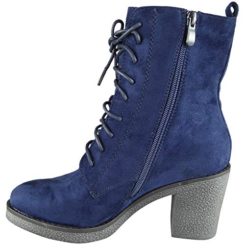 Size Suede Up Look High Blue Ankle Casual Womens Ladies Heel Faux Loud 3 Shoes 8 Lace Boots Fashion fqz06Wnw