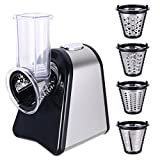 Professional Salad Maker Electric Food Slicer Shredder Machine with 4 Cone Blades Fruits Vegetables Shredder Chopper for Home (Electric Slicers)