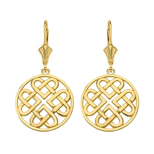 10k Yellow Gold Round Endless Celtic Knot Heart Infinity Earrings (Small)