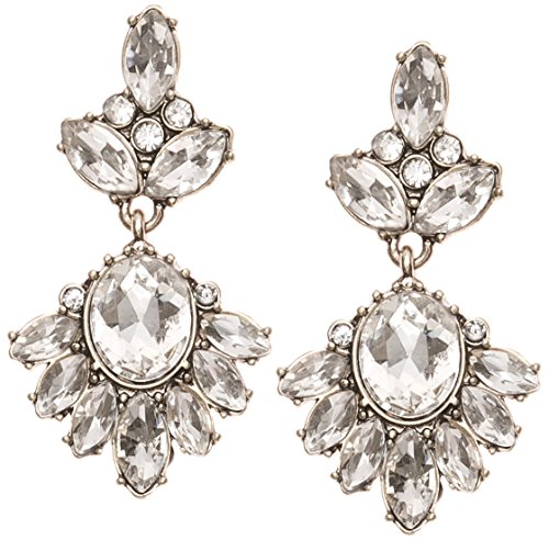 Drop Flower Crystal Earrings (Statement Earrings Rhinestones in Clear Color | Flower Crystal Drop Earrings in Neutral Color nickel free)