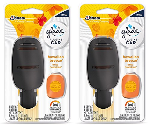 Glade Plugins Car Starter Kit - Hawaiian Breeze - Starter Kit Contains: 1 Device & 1 Refill - Pack of 2 Starter (Glade Car)
