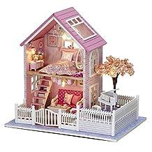 DIY Wooden Dollhouse Handmade Miniature Kit- LED Pink villa Model & Furniture/Music box