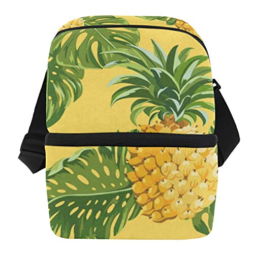 Lovexue Lunch Bag Pineapples Tropical Leaves Reusable Cooler Bag Adult Leakproof Lunch Box Zipper Tote Bags for Outdoor