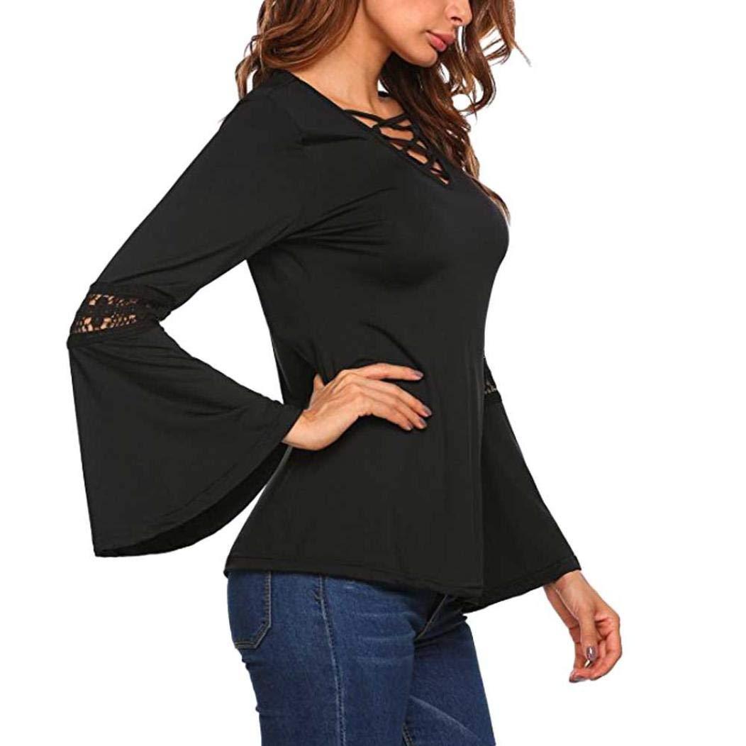 Preferential New Zlolia Fashion Women Lace Stitching Speaker Sleeve Knot V-Neck Lady's Shirt