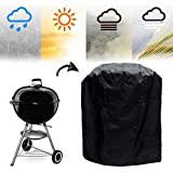 "Metacrafter Grill Cover for BBQ Weber Charcoal Kettle Grills, Barbecue Gas Grill Cover Waterproof Outdoor Patio Round Fire Pit Protector-Wind Resistant & UV Resistant with Elastic Strap(30""DX23""H)"