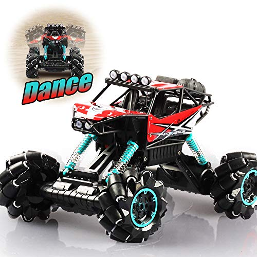 DAZHONG Remote Control Drift Car Music Jitter Dancing 1/12 Scale Off-Road RC Monster Truck Overall Direction Drift One-Button Body Rise and Fall All Terrain Climbing Car (Red)