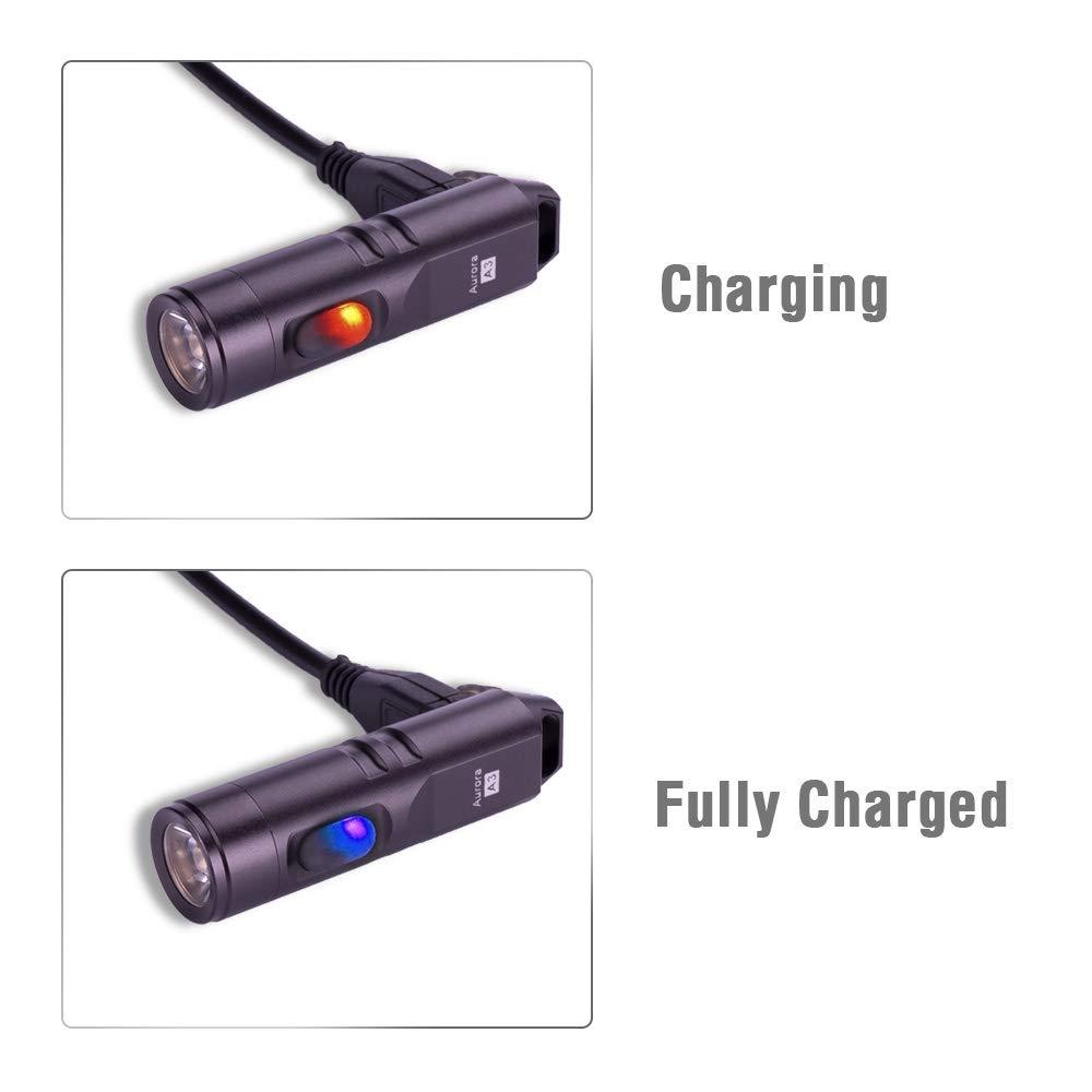 350 l/úmenes LED NICHIA CRI 90+ luz de tama/ño de llavero recargable RovyVon Linterna compacta EDC A3 aleaci/ón de aluminio para interiores y exteriores