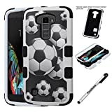 LG K10 Case; PREMIER LTE Case, Phonelicious LG K10 Slim [Heavy Duty] Dual Layer Durable Hybrid [Drop Protection] Shockproof Rugged Phone Tuff Cover & Stylus (SOCCER BLACK TUFF)