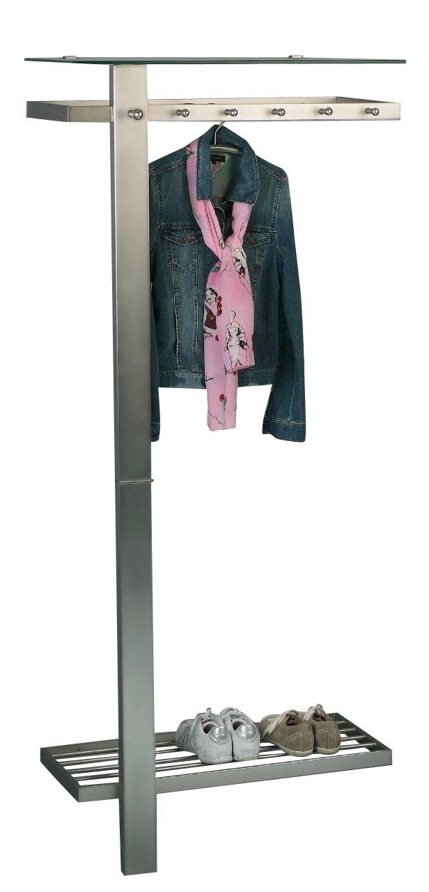 HomeTrends4You 819488 Garderobe   Wandgarderobe mit Hut- und Schuhablage Vito, Metall Edelstahloptik, Hutablage Sicherheitsglas klar, 80x190x43cm,