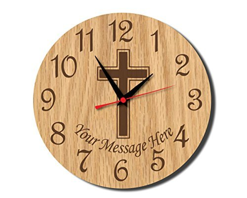 Christian Cross Rustic Wooden Wall Clock Decorative Vintage Silent Non-ticking Home Decor Personalized Wall Clock for Living Room Bedrooms Gifts Choice 12 Inches by hiusan