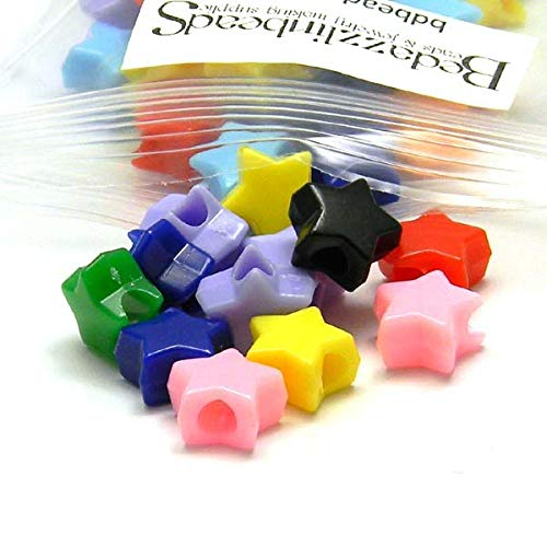200 Assorted Opaque Color 11mm Star Shaped Plastic Acrylic Pony Beads]()