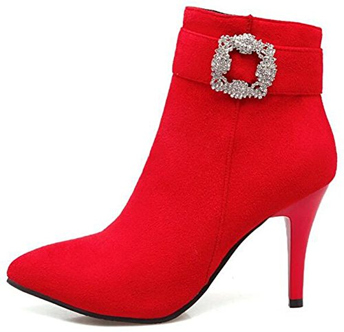 Faux Toe Heels Zipper With Pointed Stiletto IDIFU Red Ankle Rhinestones Boots High Side Suede Women's Elegant YfwntU0