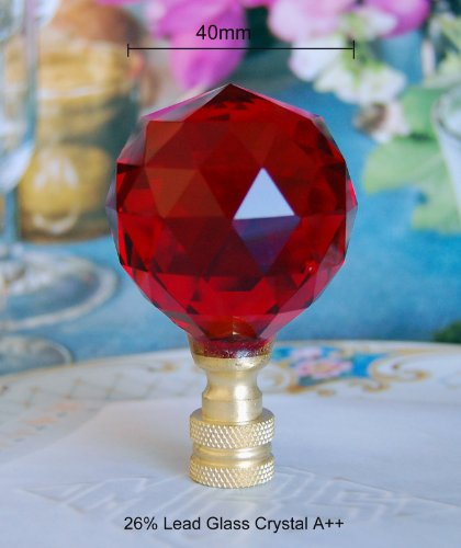 2 of Red 26% Lead Crystal Lamp Shade Finials 40mm
