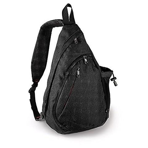 OutdoorMaster Sling Bag - Small Crossbody Backpack for Men & Women (Black)
