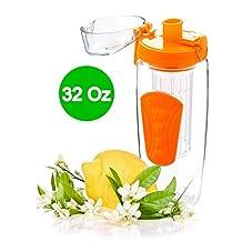 Fruit Infuser Water Bottle 32Oz for Detox Water with Leak Proof Lid (Orange) - by EBOUR