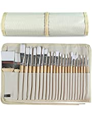 24 Pieces Artist Paint Brushes Set, Multifunctional Wooden Handles Brushes with Canvas Brush Case, Professional for Both Acrylic Oil and Watercolor Painting.