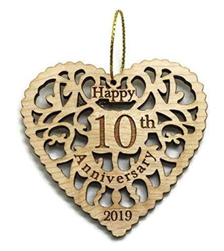 Twisted Anchor Trading Co 10th Anniversary Ornament 2019 - Heart Shaped Happy Anniversary Ornament - Beautiful Laser Cut Wood Detail - Comes in a Pretty Organza Gift Bag so it's Ready to give
