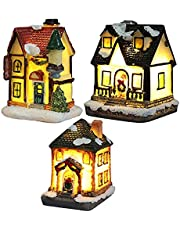 3 Pcs Christmas Village Houses, Resin Christmas Light Up House, Lighted Snow Village Houses with LED Light, Christmas Ornament Home Decoration (Style 1+Style 2+Style 3)