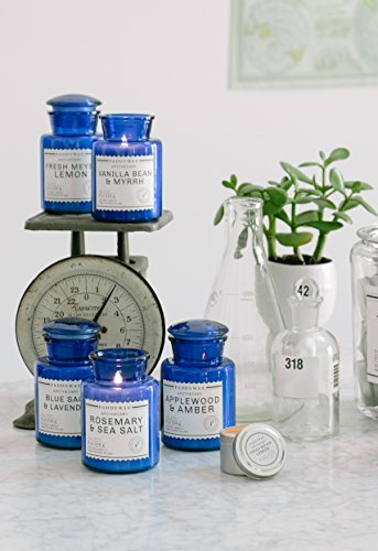 Paddywax Blue Apothecary Collection Scented Soy Wax Jar Candle, 8-Ounce, Vanilla Bean & Myrrh