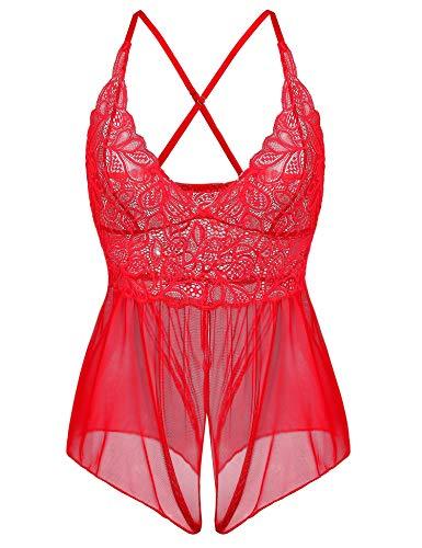 (Cherrydew Lace Sheer Teddy Lingerie for Women Sexy Mesh One Piece Bodysuit Nighties (Red,XXL))