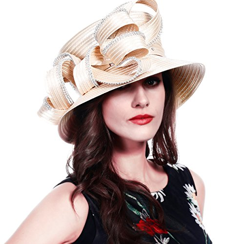 FORBUSITE Church Hats for Women Tea Party Dress Hat for Ladies Rhinestone