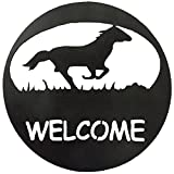 7055 Inc Southwest Horse Welcome Circle Metal Wall Sign, Hammered Black