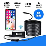 Wireless Endoscope,BUNKER INDUST WiFi USB Borescope 2.0 Megapixels HD Snake Inspection Camera Waterproof Semi-Rigid Adjustable 8 LED for Android iPhone Samsung Galaxy Tablet Windows Mac - 16.4ft/5M