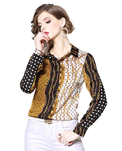 Women's Chain & Baroque Print Shirt Long Sleeve Button up Casual Blouse Top