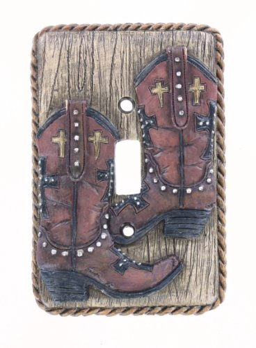 Cross Cowboy Boot / Rope Single Switch Cover Plate - Western Boots Rodeo Decor ()