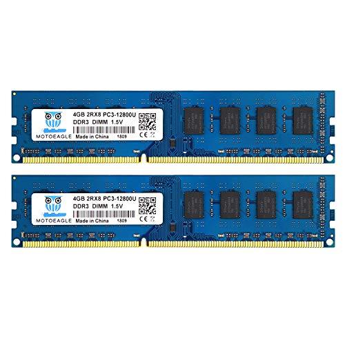 8GB DDR3 1600 UDIMM, Motoeagle 240-Pin DDR3 PC3-12800 1600Mhz 1.5V 2RX8 Dual Rank Module Chips Desktop Memory Kit (2x4GB) ()