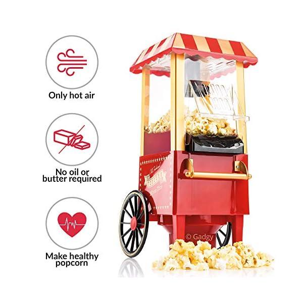 Gadgy Popcorn Machine - Retro Macchina Pop Corn Compatta, Aria Calda Senza Olio Grasso 2