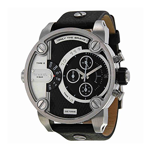 - Diesel DZ7256 sba oversize black chrono pyramid dial black leather band men watch NEW