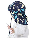 Baby Toddler Infants Kids Sun Hat UPF 50+ UV Protection Hats Adjustable Bucket Cap with Neck Flap for Summer Play Beach Swim Dinosaur Blue 6-12 Months