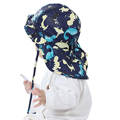 Baby Toddler Infants Kids Sun Hat UPF 50+ UV Protection Hats Adjustable Bucket Cap with Neck Flap for Summer Play Beach Swim Dinosaur Blue 12-18 Months