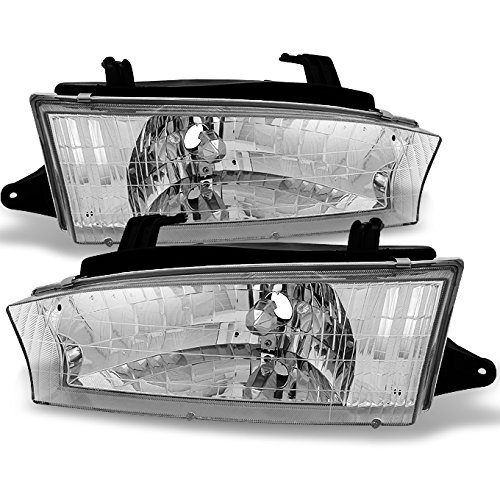 (For Subaru Legacy Clear Chrome Headlights Head Lamps Driver Left + Passenger Right Side Replacement Pair)