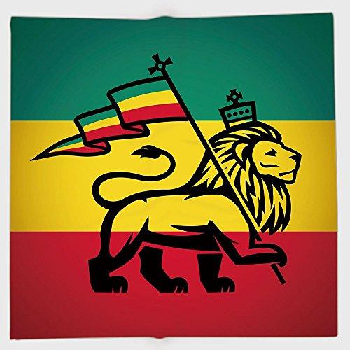 Bandana de poliéster para la cabeza bufandas, Rasta, Judah Lion con una bandera de Rastafari King Jungle Reggae temática...