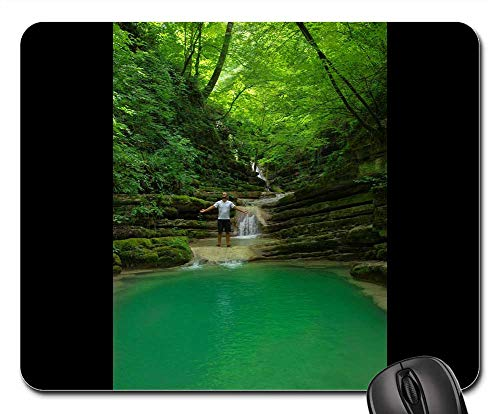 Mouse Pad - Lake Forest Waterfall Sinop Trees Green Water 1