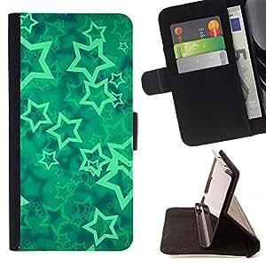 BullDog Case - FOR/Samsung Galaxy Note 4 IV / - / stars vortex mint mystical abstract /- Monedero de cuero de la PU Llevar cubierta de la caja con el ID Credit Card Slots Flip funda de cuer