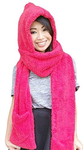AM Landen Best Quality Thick/Soft Winter Warm Hoodie Gloves Pocket Hat Scarf Snood 3-in-1(RED)