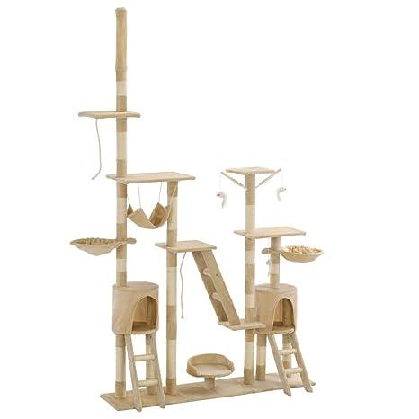 vidaXL Rascador para Gatos Poste Rascador de Sisal 230-250cm Beige Mascotas